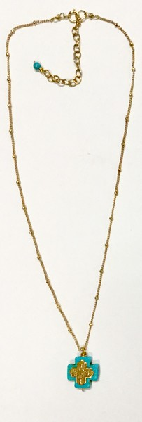 """7-RM83-GCHN CO38  TINY 4 WAY BRONZE CROSS ON TURQ WITH DELICATE BALL CHAIN  16 + 2"""""""