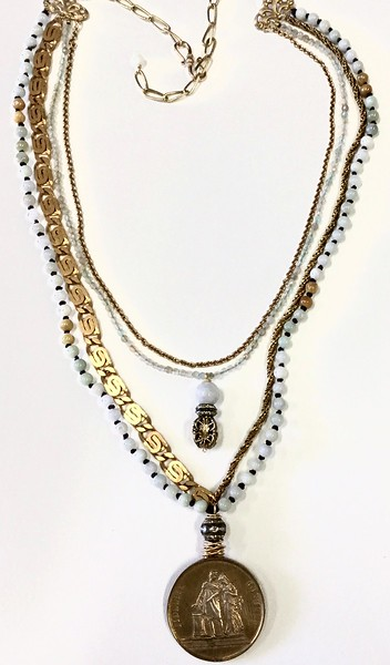 """7-4-RM156 CO149  BRONZE MARRIAGE MEDAL ON 3 DIFFERENT VINTAGE CHAINS WITH KNOTTED BURMESE JADE AND AQUAMARINE. RHINESTONE ACCENTS  22""""  MEDAL IS INSCRIBED  IN FRENCH MEANING HAPPINESS AND LOYALTY"""