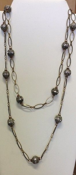 """7-BCHN-RS CO89 .BRASS LINK CHAIN WITH RHINESTONE BALLS  35"""""""