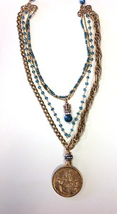 "7-4-RM101BA CO149 BRONZE ""OUR LADY OF THE ROSARY"" MEDAL ON 3 VINTAGE CHAINS, BLUE PEARLS AND BLUE QTZ ROSARY. INSIDE STRAND HAS CROWN AND BLUE AGATE.  16.5 + 2"" EXT"