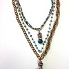 """7-4-RM101BA CO149 BRONZE """"OUR LADY OF THE ROSARY"""" MEDAL ON 3 VINTAGE CHAINS, BLUE PEARLS AND BLUE QTZ ROSARY. INSIDE STRAND HAS CROWN AND BLUE AGATE.  16.5 + 2"""" EXT"""