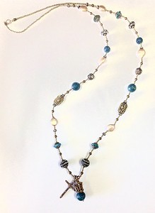 "7538/34-RSV CO118  BRONZE CROWN AND CROSS WITH BLUE AGATE ON HEISHI WITH VINTAGE ""SATURN"" BEADS AND BASKET BEADS AND AGED RHINESTONES, COIN PEARLS 30"""