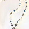 """7538/34-RSV CO118  BRONZE CROWN AND CROSS WITH BLUE AGATE ON HEISHI WITH VINTAGE """"SATURN"""" BEADS AND BASKET BEADS AND AGED RHINESTONES, COIN PEARLS 30"""""""