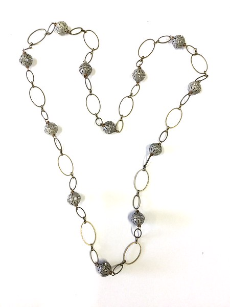 """7-CHN-BRS CO95  BIG AGED RHINESTONES ON BRASS CHAIN  42""""  THESE CHAINS ARE VERY POPULAR AND FUN TO WEAR"""