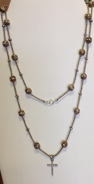 7-CZC-HRS CO99. LONG SILVER AFRICAN HEISHI WITH RHINESTONES AND CZ CROSS  36""
