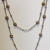 """7-CZC-HRS CO99. LONG SILVER AFRICAN HEISHI WITH RHINESTONES AND CZ CROSS  36"""""""