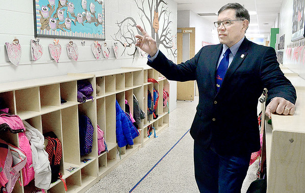 Kevin Harvison | Staff photo<br /> Oklahoma District 18 State Representative Donnie Condit stands in the hallway of Washington Early Childhood Center.
