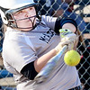 Kevin Harvison | Staff photo<br /> McAlester Lady Buffalo batter gets a base hit against Broken Bow Thursday at the Pittsburg County Softball Complex.