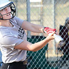 Kevin Harvison | Staff photo<br /> McAlester Lady Buffalo batter hits the ball against Broken Bow Thursday at the Pittsburg County Softball Complex.