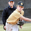 KEVIN HARVISON | Staff photo<br /> McAlester 8th grade pitcher Trent Cole delivers a pitch during tournament play against Allen at Mike Deak Field Thursday.