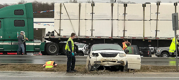 KEVIN HARVISON | Staff photo<br /> A motor vehicle accident is photographed shortly after 5 p.m. Tuesday on U.S. Highway 69.