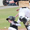 KEVIN HARVISON | Staff photo<br /> An Allen baserunner scores on an infield hit to tie the game against the McAlester Buffalo Junior High team 4-4 during tournament play at Mike Deak Field Thursday.