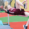 "KEVIN HARVISON | Staff photo<br /> Krebs high jumper Alyssa Loudermilk clears the bar with a 3'10"" jump to win the Junior High division of the Glen Stone Relay event Thursday at Hook Eales Stadium."