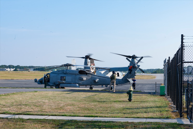 MARINE OSPREY pilot even stopped to cell phone video this huge V-22 up against the MH-60R SEAHAWK while repairs were being wrapped up before run up testing for an hour.