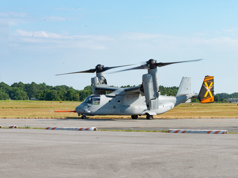 While the MH-60R SEAHAWK crew spools up the chopper to what seemed like 70% for 1 hour - mechanic and QA went into ops A/C  and Osprey headed out to do some flying -- coordinated - mechanic / QA came out at 1 hour - SEAHAWK shut down - OSPREY was landing for the second time to get the mechanic - QA men and see if they had to haul the crew home too ... mechanic and QA rechecked tail rotor for problem - passed it to allow crew to fly it back to NAS Patuxent River, Md  - OSPREY gave them a 15 minute head start and then left themselves.