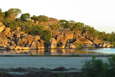 The claypan at Grey Bay, Bowen - at sunset, not long after high tide.