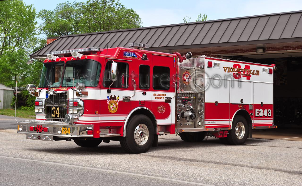 VIOLETVILLE, MD ENGINE 343 - 2010 SPARTAN/ROSENBAUER 1500/750