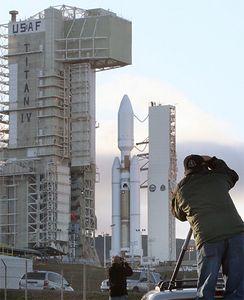 The tower rolls back on last Lockheed Martin Titan 4 at Vandenberg AFB. The launch is set for 11:04 am PST. and is carrying a secret military satellite. Vandenber, CA October 19,2005 Photo by Gene Blevins/LA Daily News 10-17-05