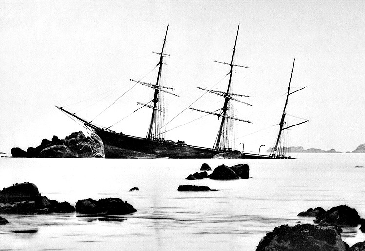 1879 - 07/27 - July 27th - RIVER LUNE - 3-masted Barque - 1172GRT - 1868 Schlesinger & Davis, Wallsend, No.14 - RIVER LUNE went on the rocks in thick fog at night just south of Annet in the Scilly Isles. The master later blamed a faulty chronometer, since he had believed himself fifteen miles to the west. The ship heeled and sunk aft in the first ten minutes. The crew took to their boats, but returned in daylight to collect their belongings. This barque was only eleven years old. She broke up soon afterwards.