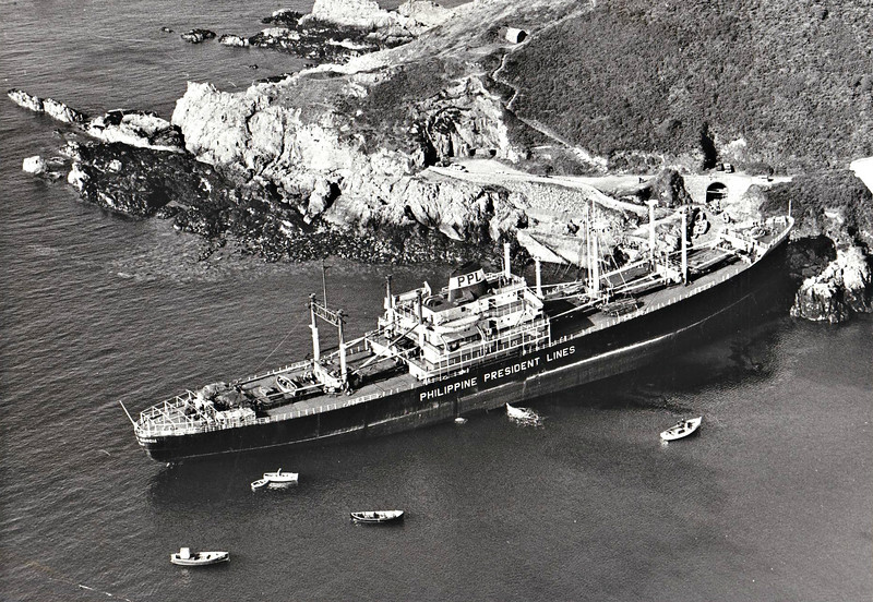 1967 - 07/13 - July 13th - PHILIPPINE PRESIDENT GARCIA - Cargo - 9937GRT/12144DWT - 155.5 x 19.6 - 1961 Uraga Dock Co., No.769 - United Philippine Lines, Manila - ran aground at 12 knots in Saints Bay, Guernsey during the night due to navigational error, Freetown for Rotterdam with copra. Refloated on July 20th and taken under tow to Rotterdam.