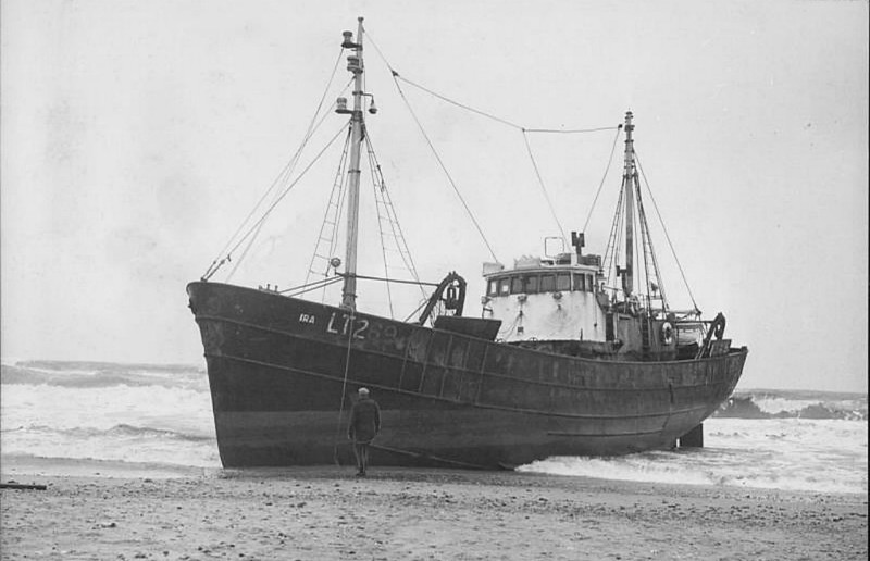 1966 - 02/14 - February 14th - IRA (LT269) - driven ashore in gales at Waxham in Norfolk. The 5 crew members walked ashore at low tide. She was refloated with no damage.