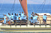 "Crew on the ""Uto  Ni Yalo"" bidding Maui aloha with traditional music and dance.  This image was published in the Maui News."