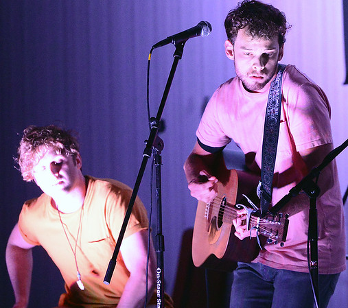 Kevin Harvison   Staff photo<br /> American Idol contestant Hunter Gotcher, right, from Tulsa, performs during the MRHC Foundation Nursing Scholarship benefit event Thursday at the Southeast Expo.