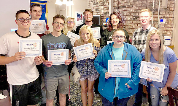 Submitted photo |<br /> Rotary Club of McAlester is proud to announce the 2018 Rotary Club Scholarship recipients. McAlesterHigh School Seniors, back row from left, Corbin Morris, Danielle McLaughlin, Austin Vilar, Bren Cable and Nathan Alexander. Front row from left, Brayden McKelvey, Nick Graham, Avery Holt, Kaila Sherwood and Mallory Nelson. Each of these students will receive a $500 scholarship to the college or university of their choice.
