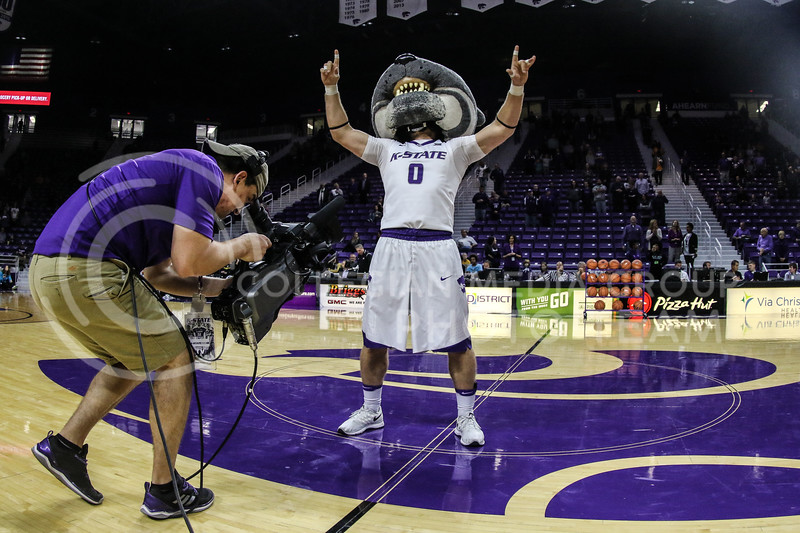 "MANHATTAN, KANSAS - OCTOBER 29: Willie The Wildcat performs the ""KSU"" chant before the men's basketball game between Fort Hays State University and Kansas State University at Bramlage Coliseum on October 29, 2017. (Photo by Cooper Kinley 