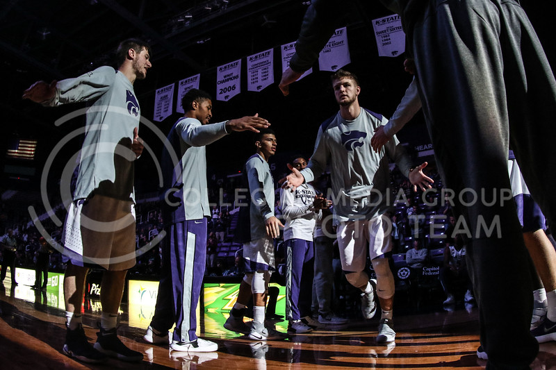 MANHATTAN, KANSAS - OCTOBER 29: #32 Dean Wade is introduced before the men's basketball game between Fort Hays State University and Kansas State University at Bramlage Coliseum on October 29, 2017. (Photo by Cooper Kinley | K-State Athletics)
