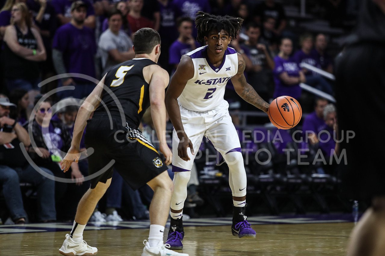 MANHATTAN, KANSAS - OCTOBER 29: #2 Mawdo Sallah looks to pass the ball during the men's basketball game between Fort Hays State University and Kansas State University at Bramlage Coliseum on October 29, 2017. (Photo by Cooper Kinley | K-State Athletics)