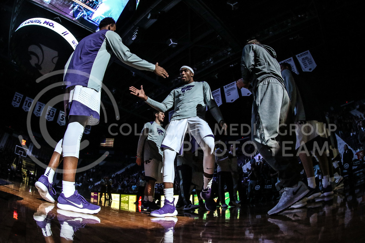 MANHATTAN, KANSAS - OCTOBER 29: #20 Xavier Sneed is introduced before the men's basketball game between Fort Hays State University and Kansas State University at Bramlage Coliseum on October 29, 2017. (Photo by Cooper Kinley | K-State Athletics)