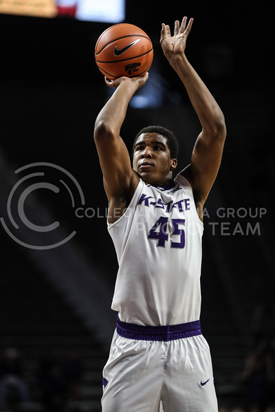 MANHATTAN, KANSAS - OCTOBER 29: #45 Nigel Shadd takes a free throw shot during the men's basketball game between Fort Hays State University and Kansas State University at Bramlage Coliseum on October 29, 2017. (Photo by Cooper Kinley | K-State Athletics)
