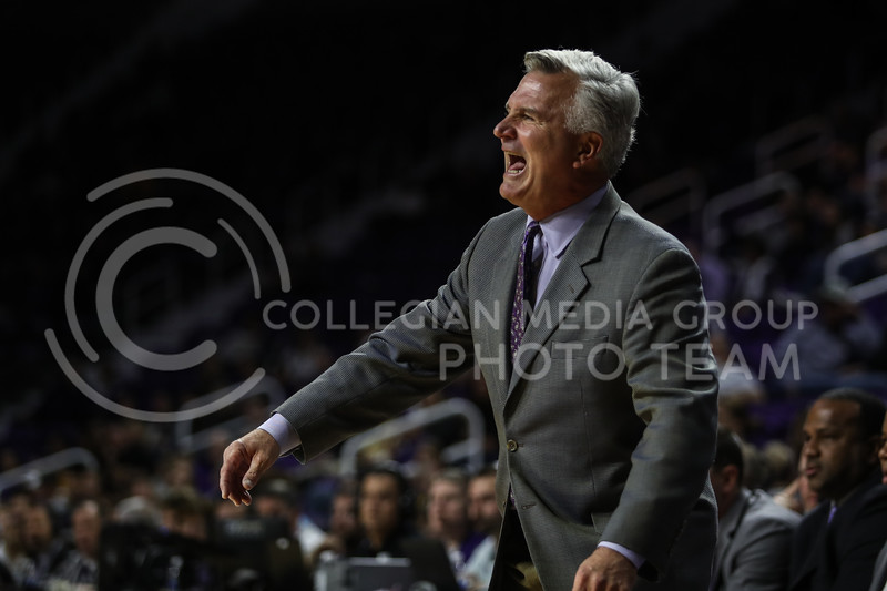MANHATTAN, KANSAS - OCTOBER 29: Kansas State head coach Bruce Weber motivates his team during the men's basketball game between Fort Hays State University and Kansas State University at Bramlage Coliseum on October 29, 2017. (Photo by Cooper Kinley | K-State Athletics)