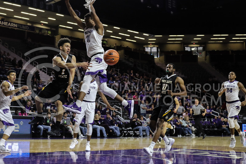 MANHATTAN, KANSAS - OCTOBER 29: Fort Hays #1 Aaron Nicholson passes the ball during the men's basketball game between Fort Hays State University and Kansas State University at Bramlage Coliseum on October 29, 2017. (Photo by Cooper Kinley | K-State Athletics)