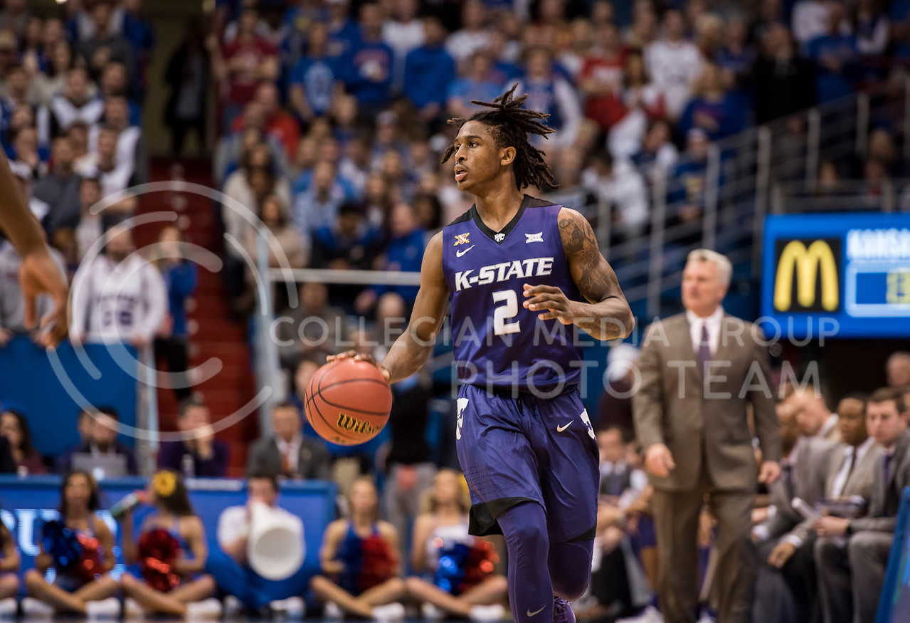 Kansas State Wildcat number 2, Cartier Diarra, begins a play during the game against the Kansas Jayhawks at Allen Fieldhouse in Lawrence, Kan., on Jan. 13, 2018. (Olivia Bergmeier | Collegian Media Group)