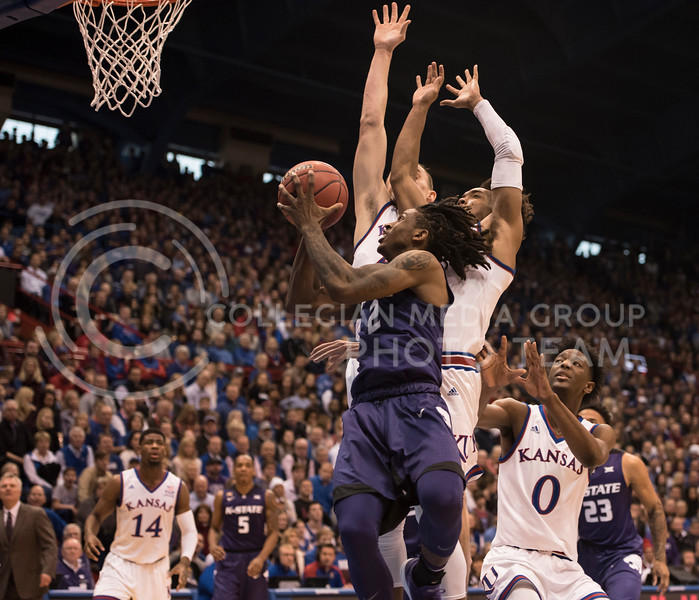 Kansas State Wildcat number 2, Cartier Diarra, goes for a lay up against the Kansas Jayhawks at Allen Fieldhouse in Lawrence, Kan., on Jan. 13, 2018. (Olivia Bergmeier | Collegian Media Group)