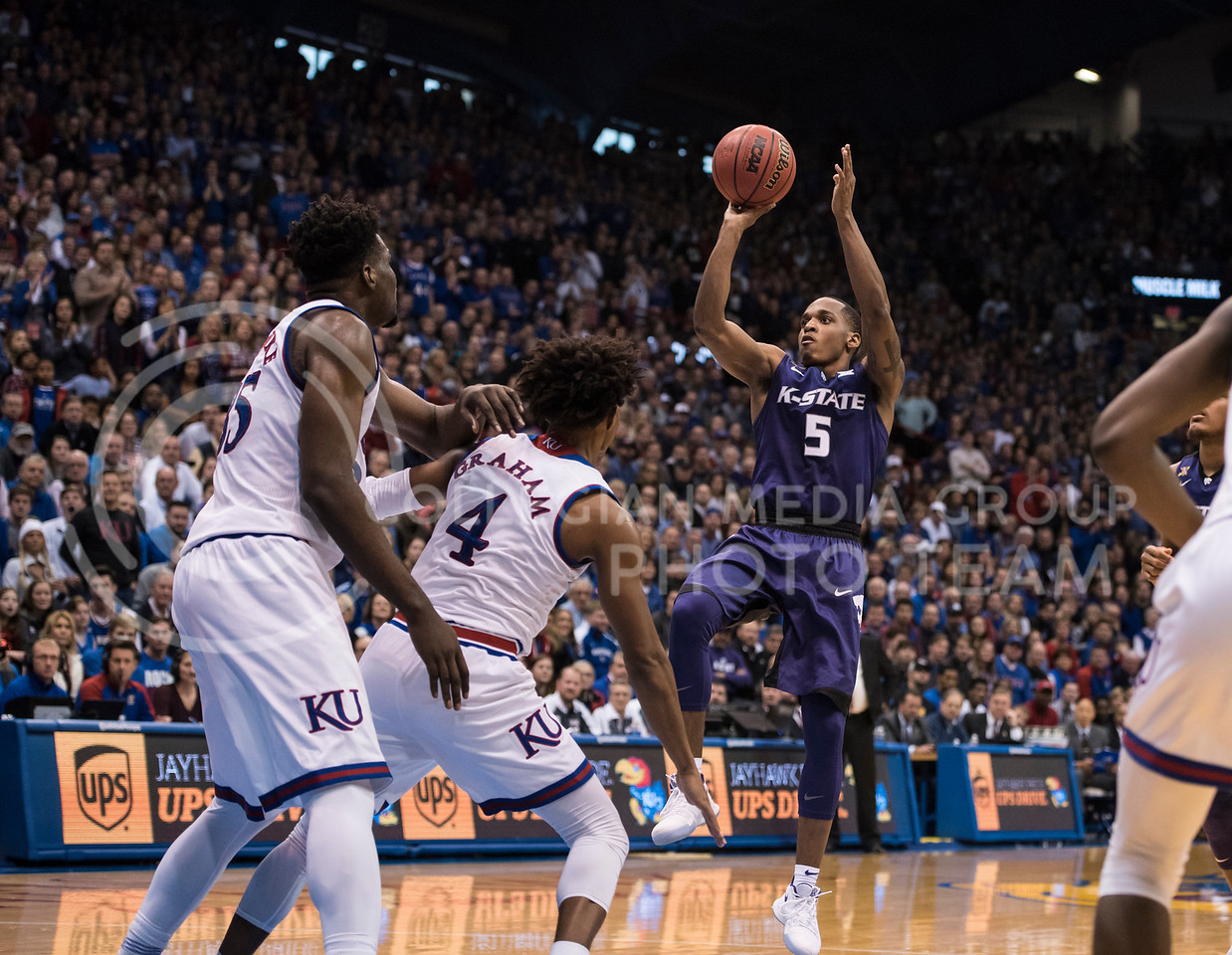 Kansas State Wildcat number 5, Barry Brown Jr., takes a shot during the basketball game against the Kansas Jayhawks at Allen Fieldhouse in Lawrence, Kan. on Jan. 13, 2018. (Olivia Bergmeier | Collegian Media Group)