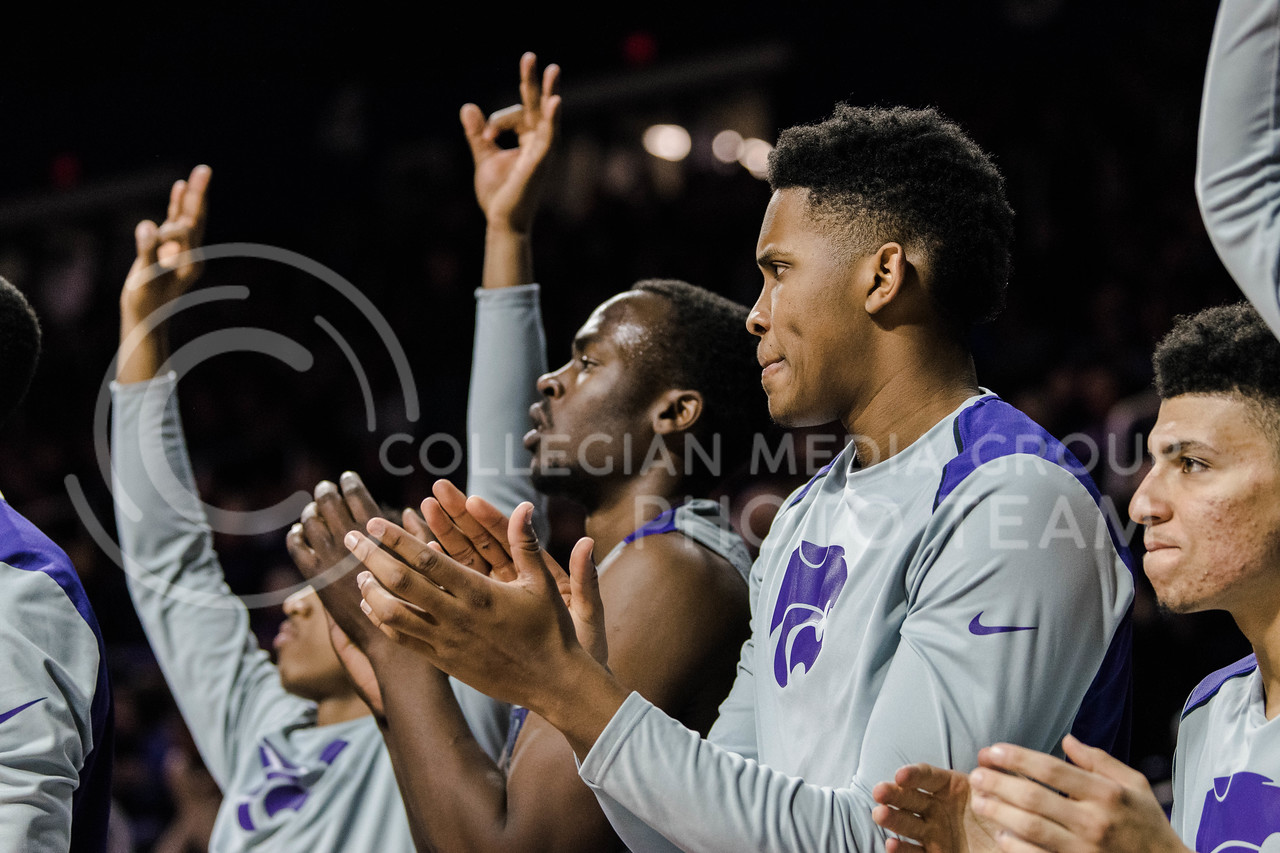 The Men's Basketball teams of The University of West Virginia and Kansas State University face off at Bramlage Coliseum in Manhattan, Kansas, on January 1, 2018. (Photo by Meg Shearer | Collegian Media Group)