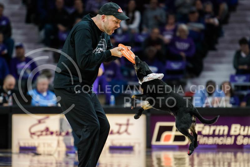 The Men's Basketball teams of The University of West Virginia and Kansas State University face off at Bramlage Coliseum in Manhattan, Kansas, on January 1, 2018. (Photo by Meg Shearer | Collegian Media Group)