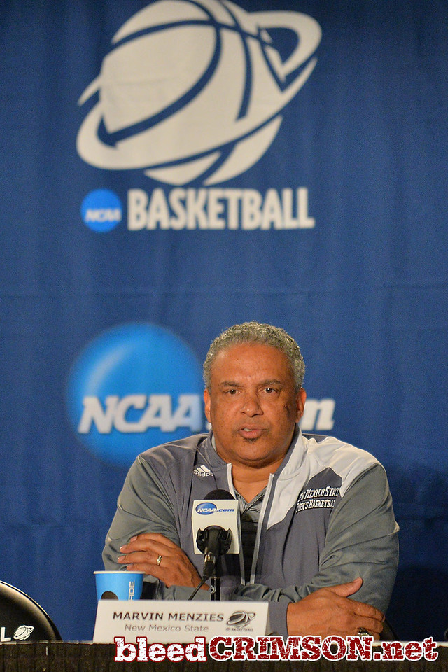 March 19, 2014: Marvin Menzies speaks with the media during the team's media conference at the 2014 NCAA Men's Basketball Championship Tournament.