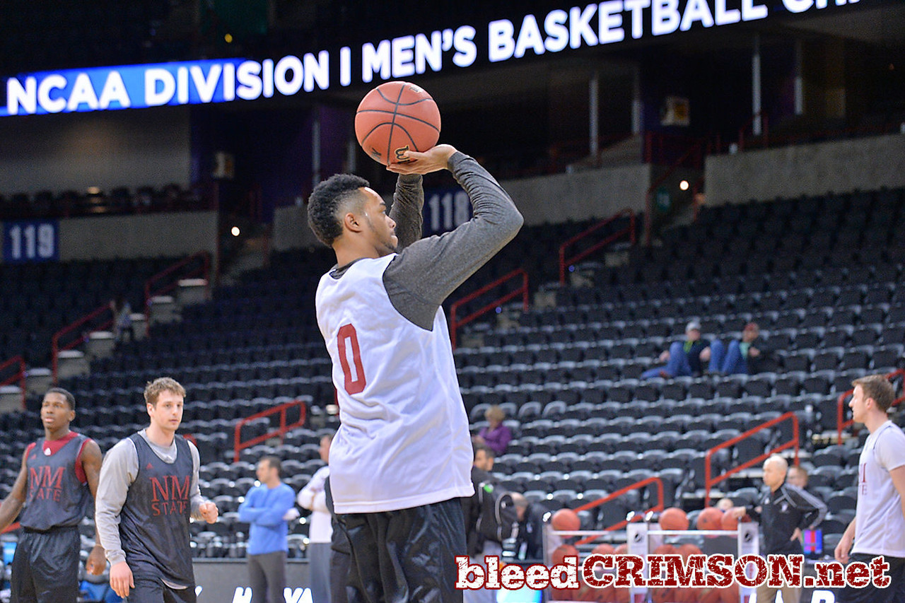 March 19, 2014: Trayvon Landry takes a shot as the New Mexico State men's basketball team prepares for their second round game versus 4-seed San Diego State during an open practice.