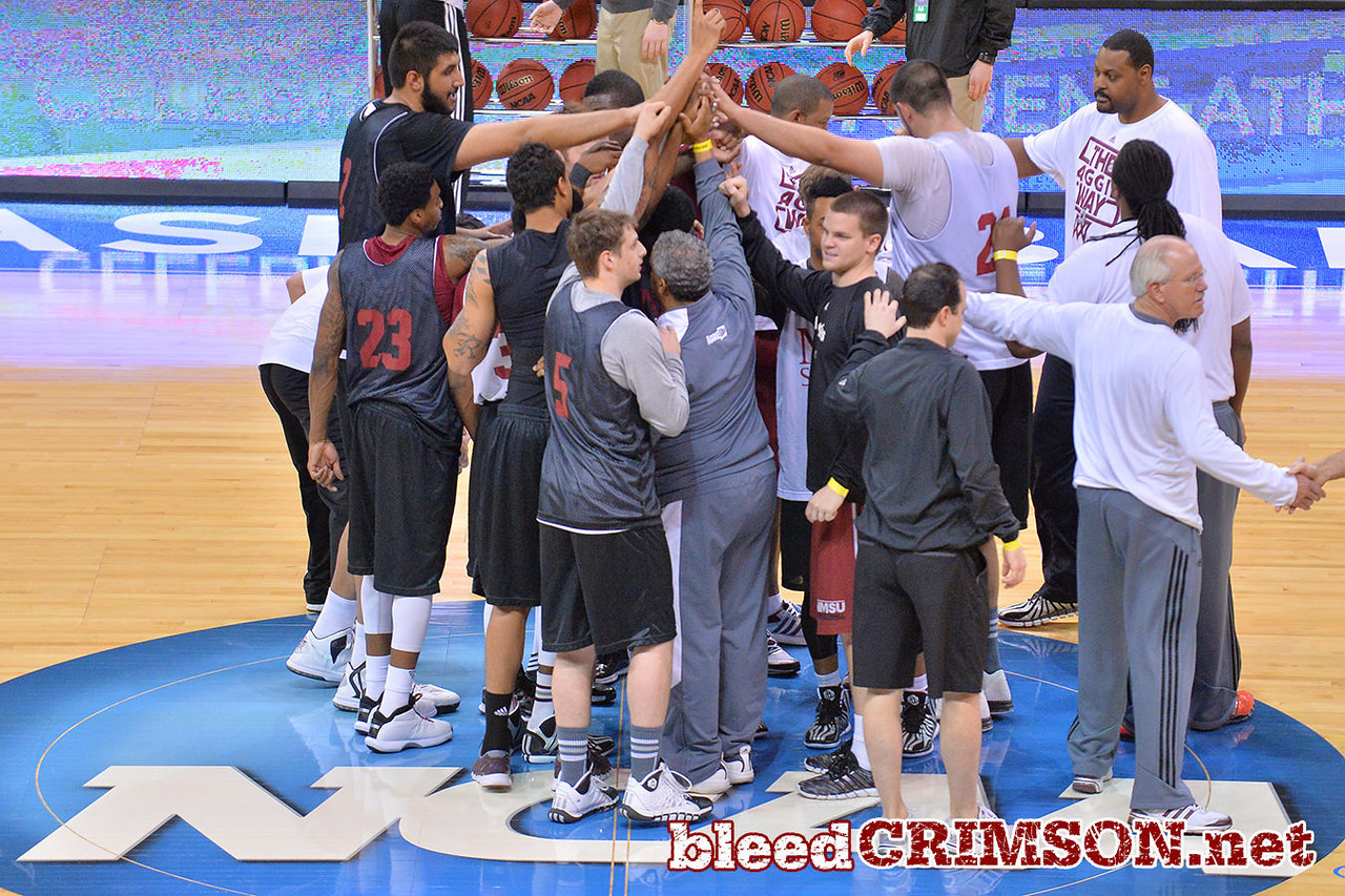 March 19, 2014: The New Mexico State men's basketball team prepares for their second round game versus 4-seed San Diego State.