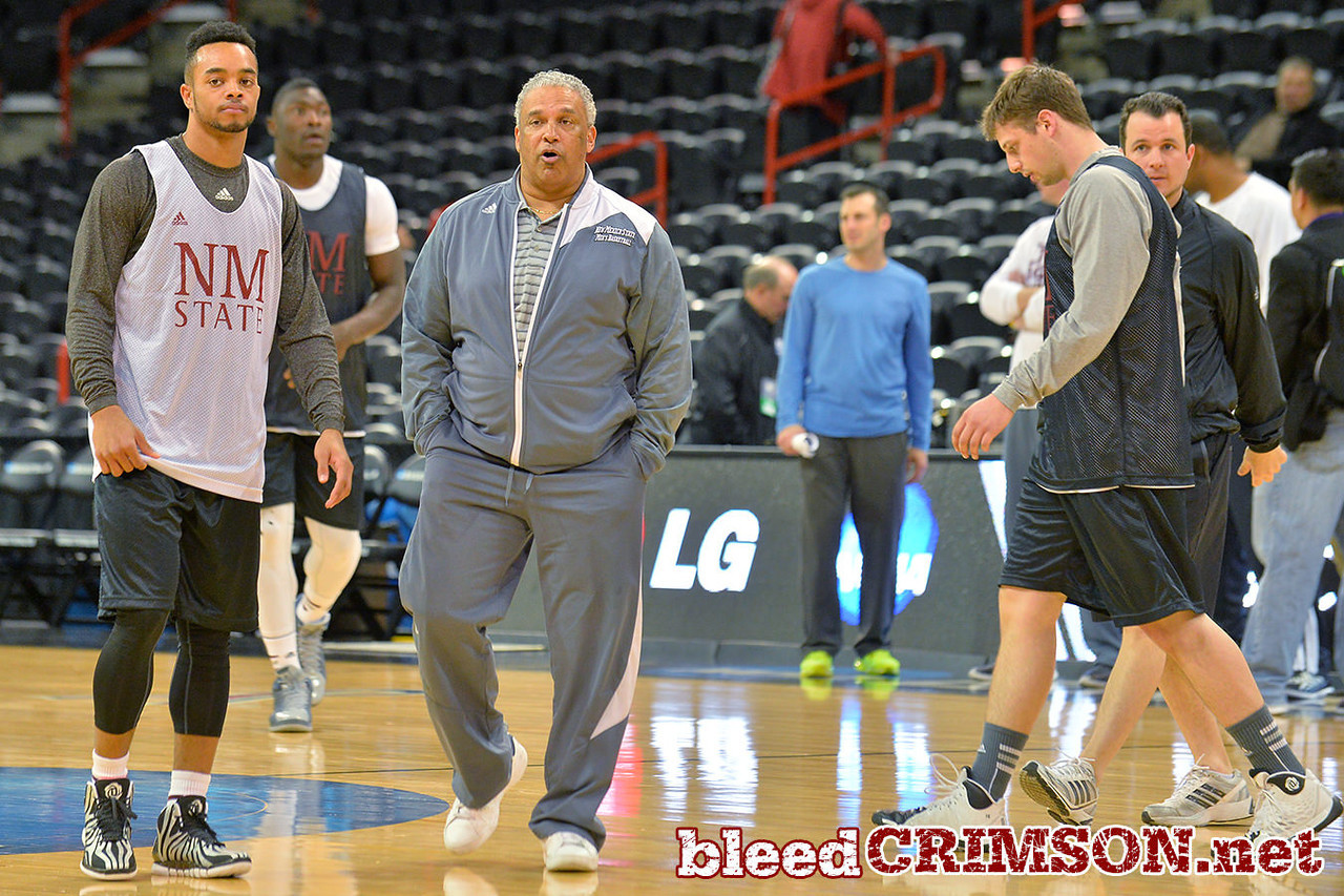 March 19, 2014: The New Mexico State men's basketball team prepares for their second round game versus 4-seed San Diego State during an open practice.