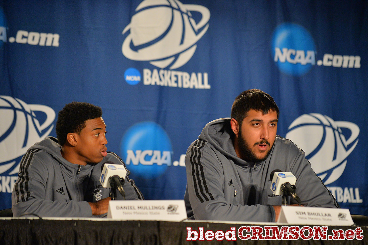 March 19, 2014: Sim Bhullar speaks with the media during the team's media conference at the 2014 NCAA Men's Basketball Championship Tournament.
