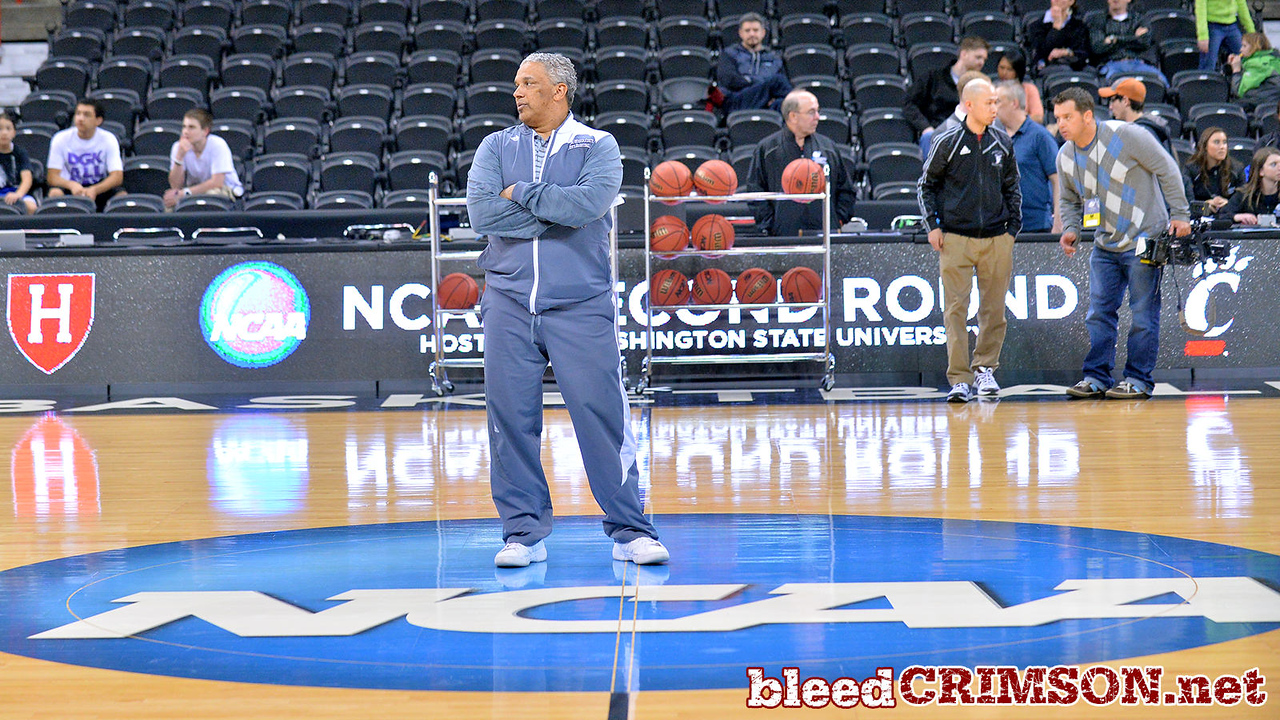 March 19, 2014: Head Coach Marvin Menzies watches as the New Mexico State men's basketball team prepares for their second round game versus 4-seed San Diego State during an open practice.