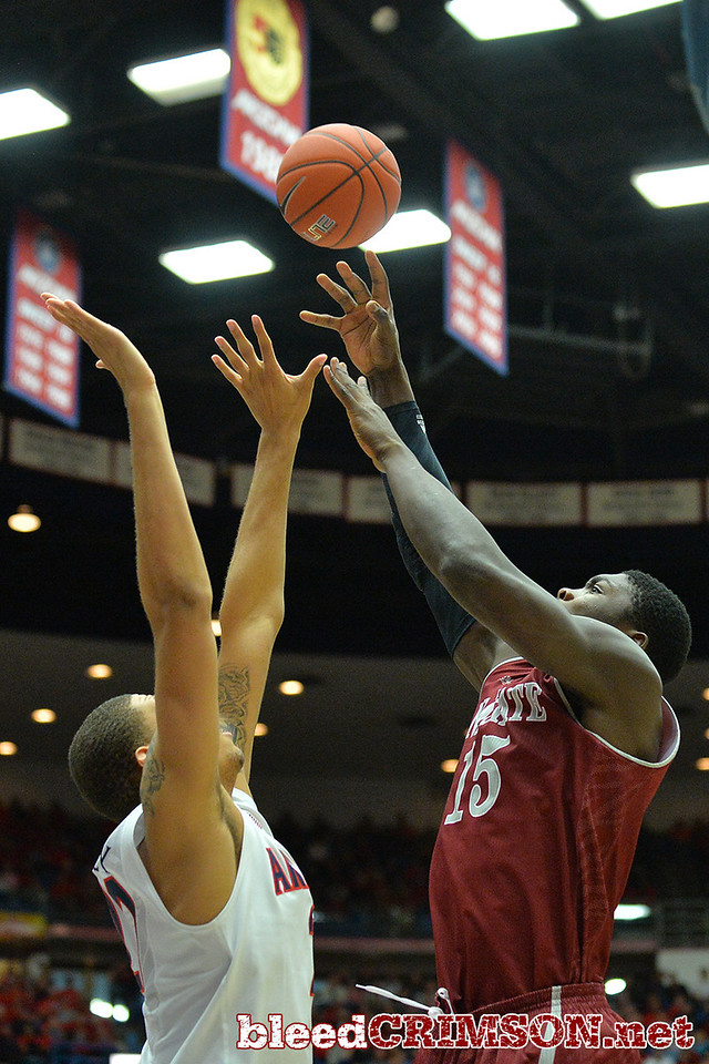 December 11, 2013: New Mexico State Aggies center Tshilidzi Nephawe (15) puts up a shot in a game between No. 1 Arizona and New Mexico State at McKale Center in Tucson, Ariz. Arizona defeated New Mexico State 74-48.