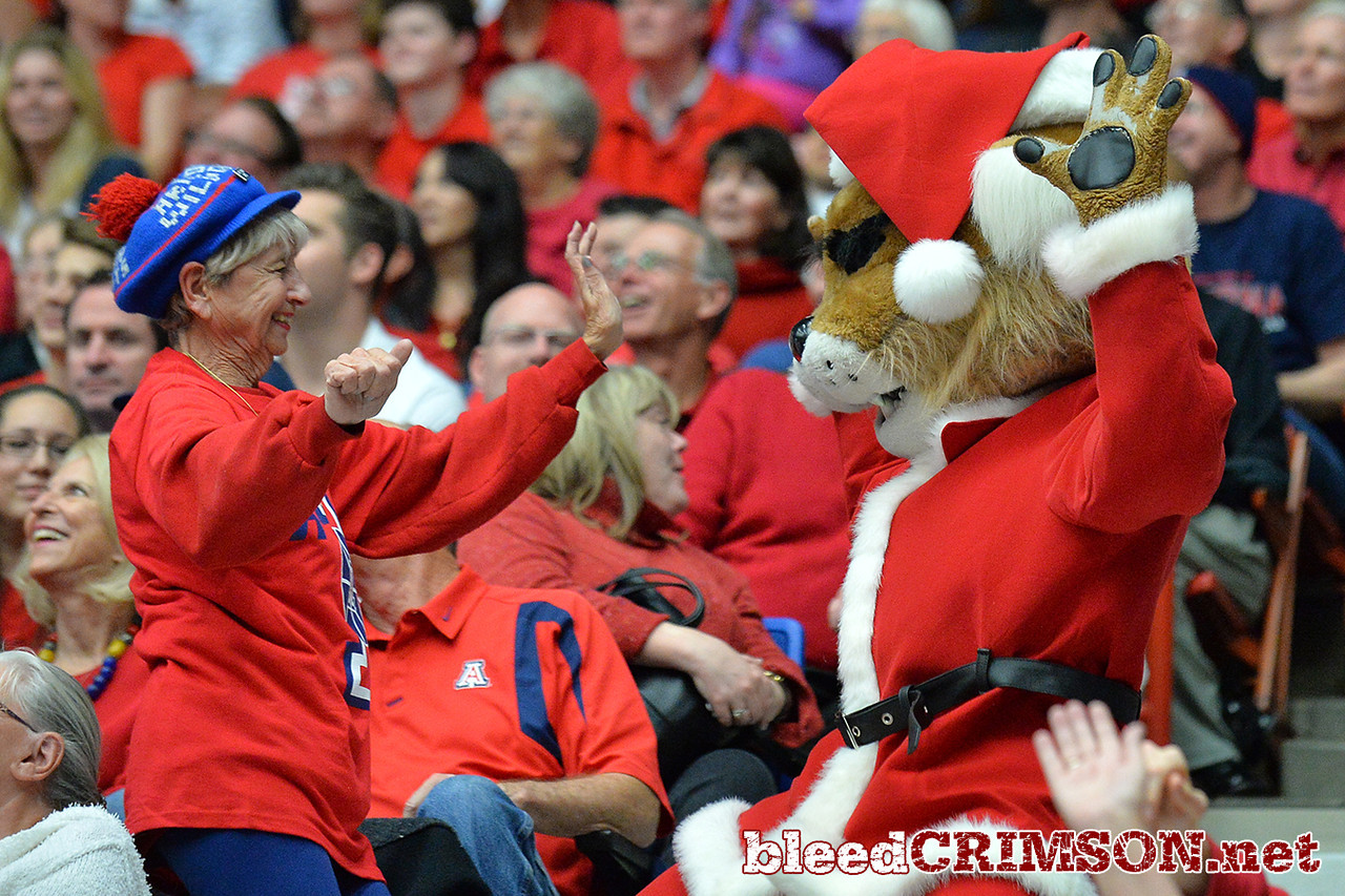 December 11, 2013: The Arizona Wildcats mascot dances with a fan in a game between No. 1 Arizona and New Mexico State at McKale Center in Tucson, Ariz. Arizona defeated New Mexico State 74-48.