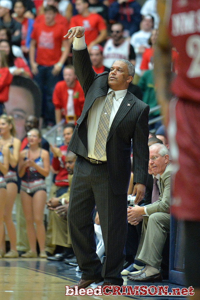 December 11, 2013: New Mexico State Aggies head coach Marvin Menzies calls a play in the first half in a game between No. 1 Arizona and New Mexico State at McKale Center in Tucson, Ariz. Arizona defeated New Mexico State 74-48.