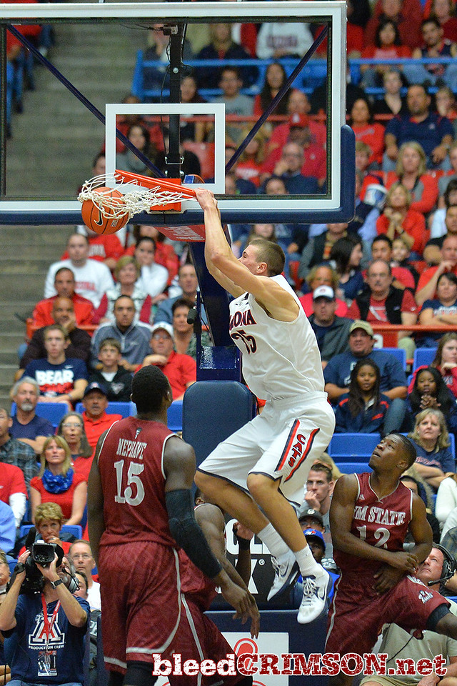 December 11, 2013: Arizona Wildcats center Kaleb Tarczewski (35) gets a dunk in the second half in a game between No. 1 Arizona and New Mexico State at McKale Center in Tucson, Ariz. Arizona defeated New Mexico State 74-48.